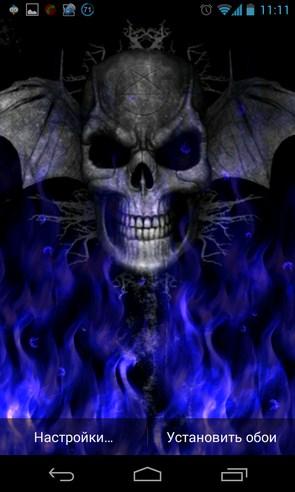 Flames and Skull - живые обои на Samsung Galaxy S4