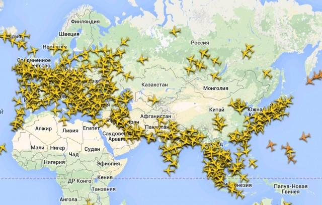 Flightradar24 - все самолеты на экране Galaxy S4