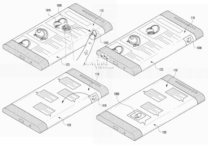 Запатентован смартфон Samsung с загнутым дисплеем