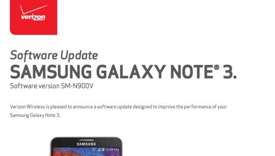 Galaxy Note 3 Verizon получил первое обновление