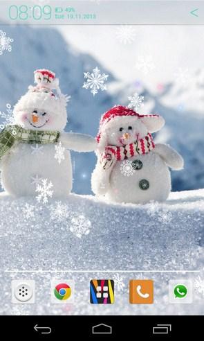 Снеговики - живые обои на Samsung Galaxy S4
