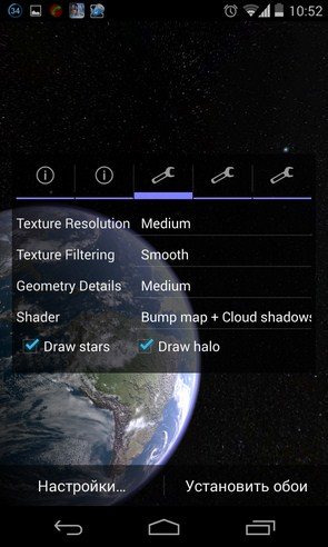 Earth & Moon in HD Gyro 3D - живые обои на Samsung Galaxy S4