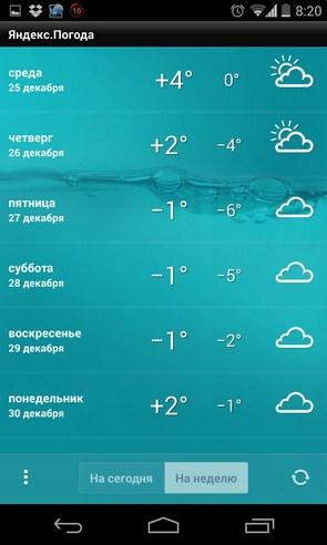 Яндекс погода - приложение на Galaxy S4