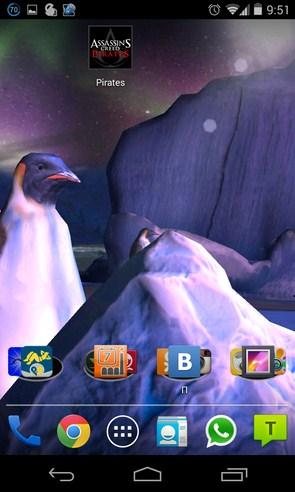 Penguins 3D Live Wallpaper - живые обои на Samsung Galaxy S4