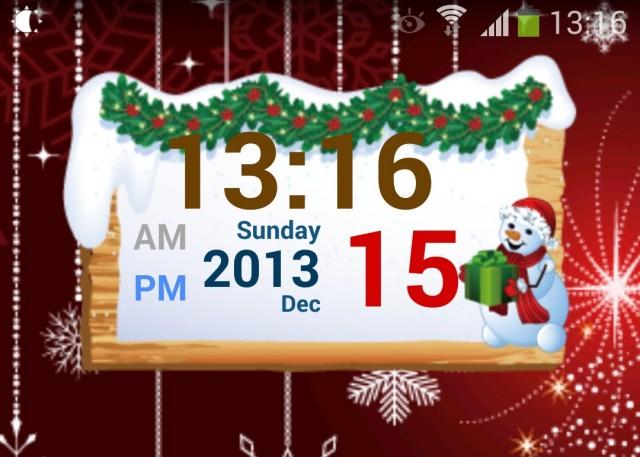 Christmas Free Digital Clock - новогодний виджет часов и обои