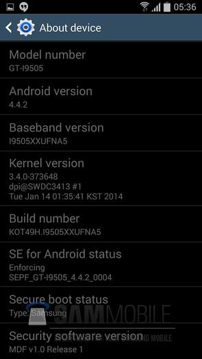 Прошивка I9505XXUFNA5 Android 4.4.2 KitKat на Галакси С4