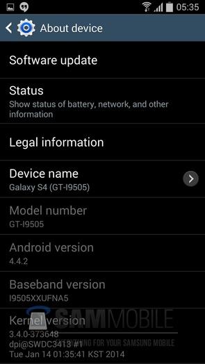 Прошивка I9505XXUFNA5 Android 4.4.2 KitKat - информация