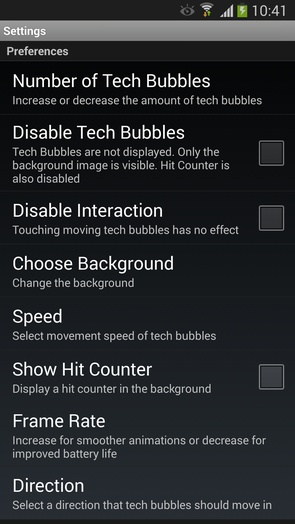 Tech Bubble - настройки