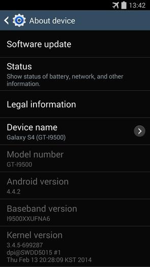Android 4.4.2 KitKat I9500XXUFNB3 для Galaxy S4 I9500