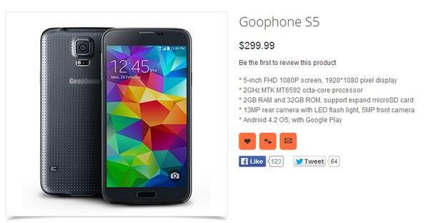 Смартфон Goophone S5 - первая китайская копия Samsung Galaxy S5