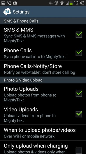 MightyText – управление сообщениями с ПК для Galaxy S4, Note 3