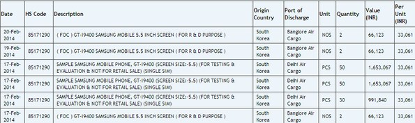 Смартфон Samsung GT-i9400 засветился в Индии