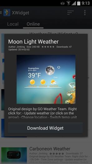 XWidget - виджеты погоды для Galaxy S4