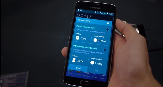 "Режим Ultra Power Saving Mode"" Samsung Galaxy S5"
