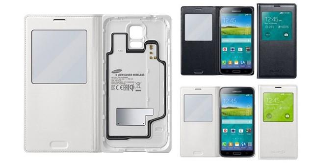Фирменный флип- чехол S-View Wireless Charging Cover для Галакси5