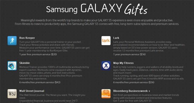 Бесплатный бонус для Galaxy S5 - доступ к приложениям на 575 долларов