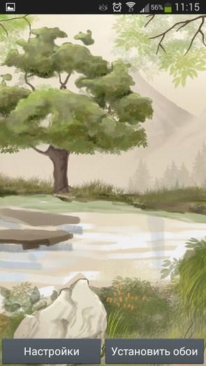 Японский Сад – рисованные обои для Galaxy S5, S4, S3, Note 3, Ace 2