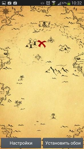Карта сокровищ – живая карта на экране для Галакси С5, С4, Нот 3