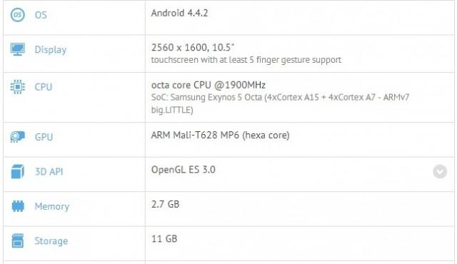Новый планшет Samsung с экраном AMOLED 10.5 засветился в сети