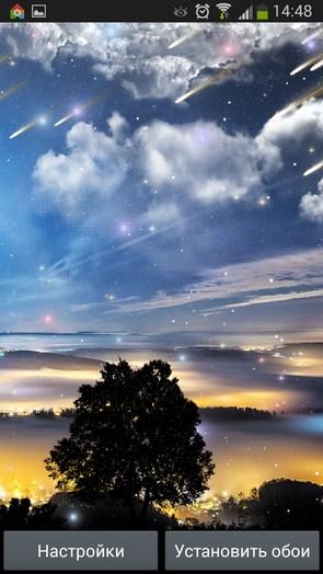 Метеоритный дождь – ночное небо для Samsung Galaxy Note 3, S5, S4, S3