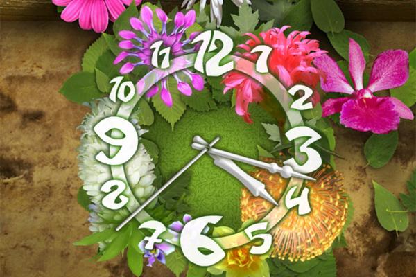 Цветочные Часы – обои информер для Галакси С5, С4, Нот 3