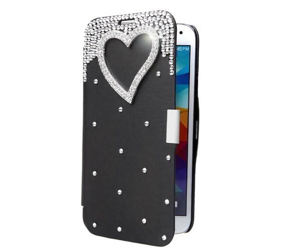 Флип-чехол со стразами и камушкамя на Samsung Galaxy S5
