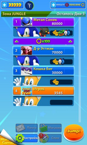 Sonic Jump Fever - игра на Samsung Galaxy S4, Samsung Galaxy S5, Samsung Galaxy Note 3