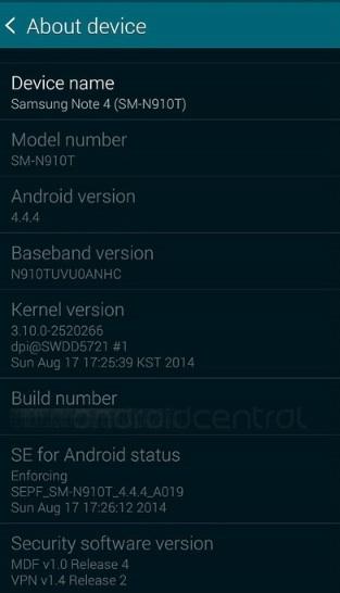 скриншот с экрана Samsung Galaxy Note 4