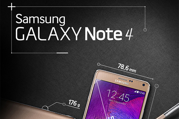 Основные характеристики Samsung Galaxy Note 4 - инфографика