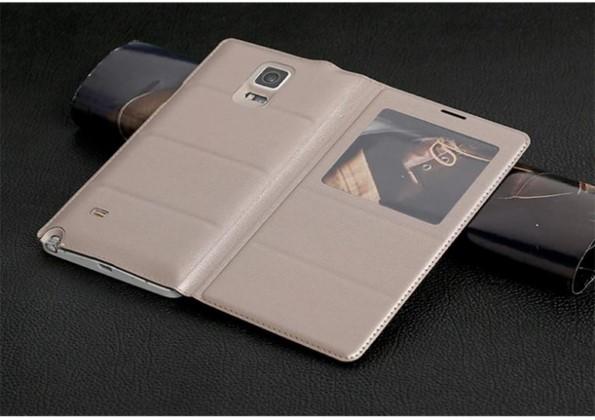 Чехол книжка из кожы с окошком для Galaxy Note 4