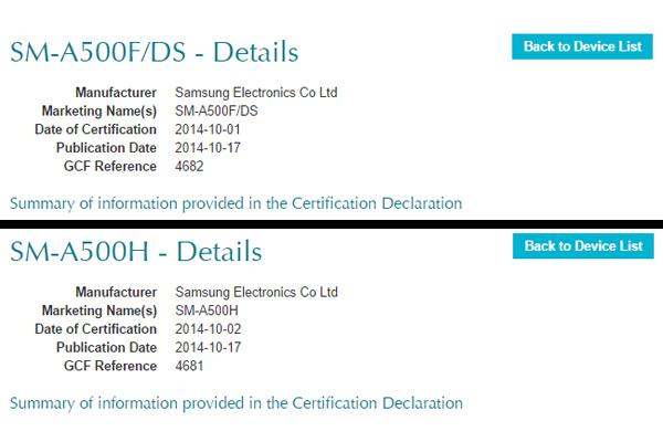 Samsung Galaxy A5 будет с двумя и одной SIM-картами