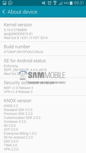 Выходит прошивка XXU1ANJ4 на Samsung Galaxy Note 4
