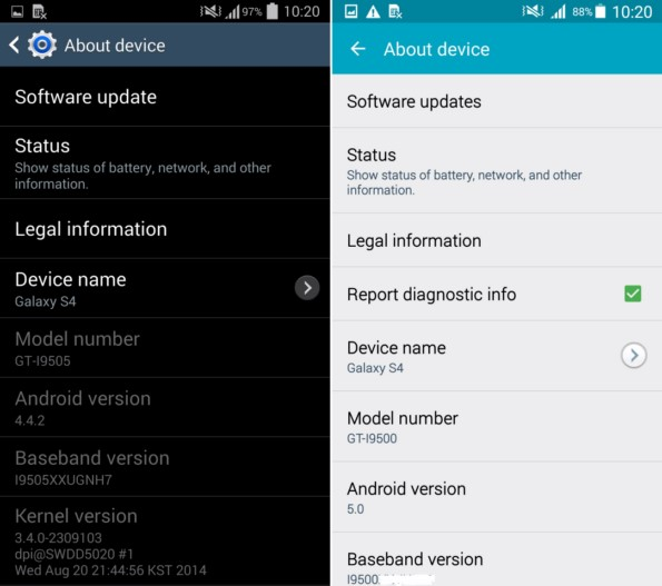 Galaxy S4 - сравнение Android 5.0 Lollipop и Android 4.4.2