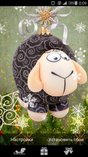Милые обои с новогодними овечками для Галакси С5, С4, Нот 4, Нот 3