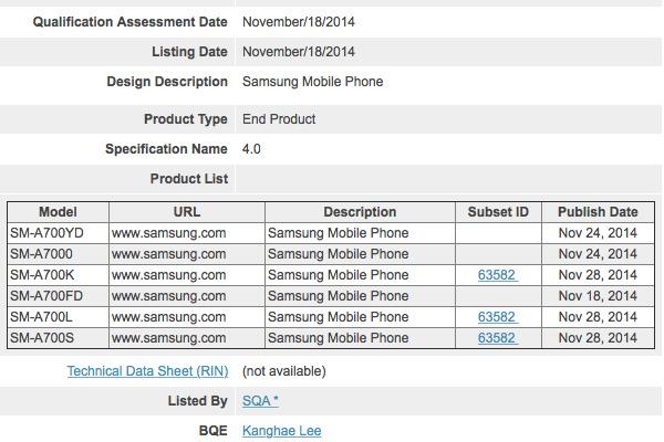 Смартфон Samsung Galaxy A7 представят в нескольких вариантах