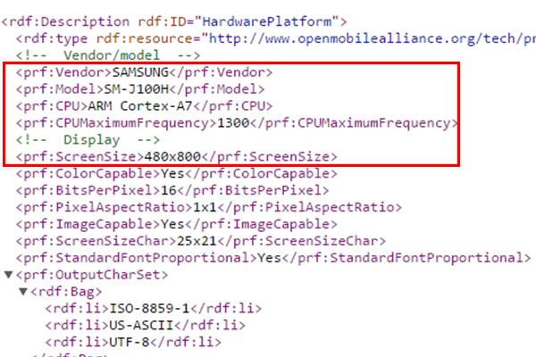 Samsung SM-J100H - новые данные из юзер агента