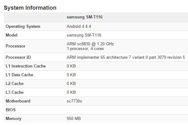 Samsung SM-T116 - вероятно планшет Galaxy Tab 4 Lite
