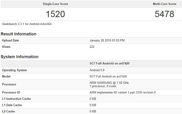 Прототип Samsung Galaxy S6 с Exynos 7420 протестирован в Geekbench