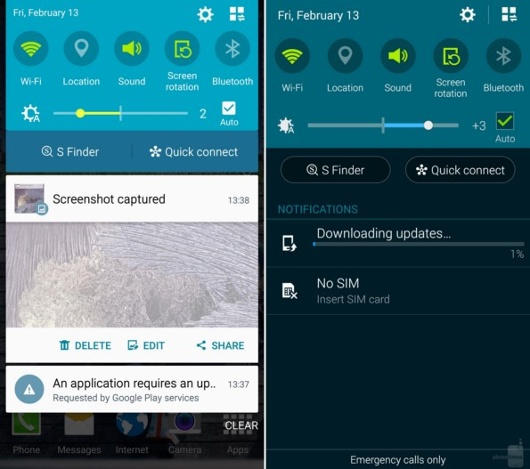 Sasmung Galaxy Note 4: сравение Android Lollipop и Android KitKat