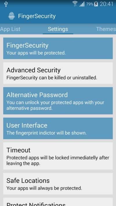 Защита приложений с помощью сканера отпечатков пальцев на Samsung Galaxy S5 S6 Note 4