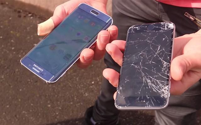 Краш тест и дроп тест Sony Xperia S6 Edge против iPhone 6