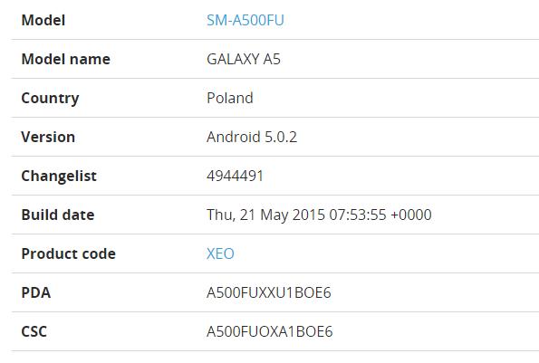 На Samsung Galaxy A5 выходит Android 5.0.2 Lollipop