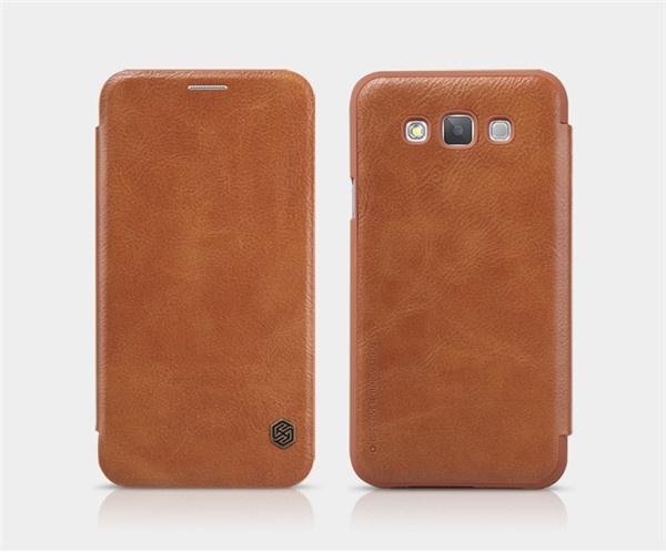 Чехол книжка для Samsung Galaxy E5 оригинал от Nillkin - коричневый