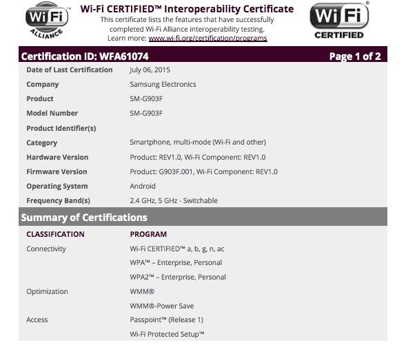 Samsung Galaxy S5 Neo SM-G903F прошел Wi-Fi сертификацию