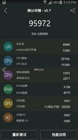 Новый гаджет Samsung SM-8508S -  набирает 95 972 в AnTuTu!