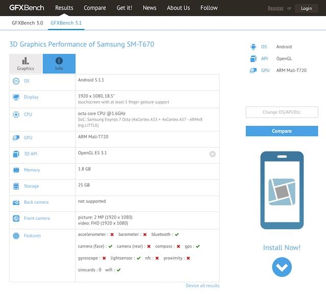 Samsung Galaxy View появился в тесте GFXBench