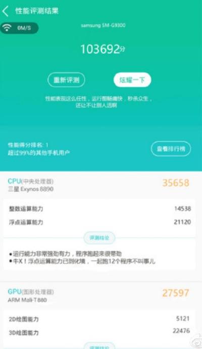 Exynos 8890 SoC набрал в AnTuTu больше 100,000 баллов