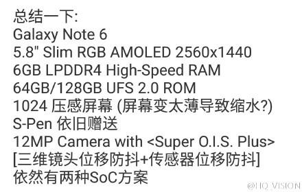 Известны некоторые характеристики еще не вышедшего смартфона Samsung Galaxy Note 6