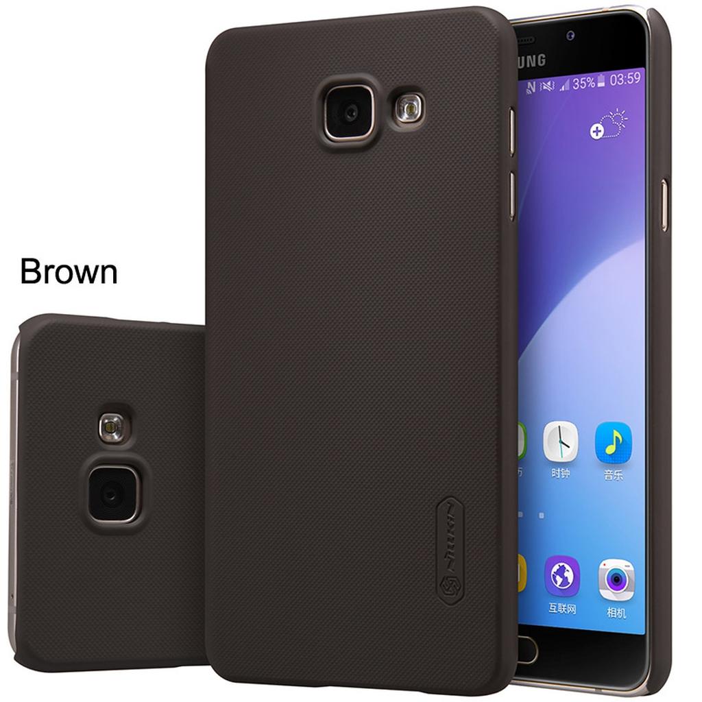 Samsung Galaxy в коричневом чехле с разных сторон