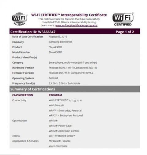 Новинка Samsung Galaxy A4 сертифицирована WIFI Aliance